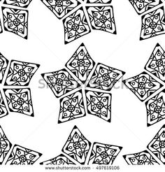 Seamless background with doodle beads. Doodle pattern for web pages, gift and packaging paper, printed fabrics, holiday invites, birthday cards and more. Black outlines on white.