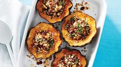 Quinoa-Stuffed Acorn Squash with Walnuts & Cranberries. The subtle sweetness of acorn squash shines when brushed with a touch of honey and lime. Cranberries and walnuts add richness and tang, while quinoa provides enough protein to keep you full for hours.