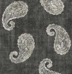 Kashmir Charcoal Paisley - Wallpaper