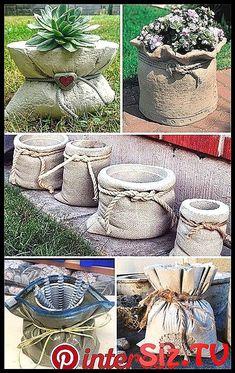 Garden Design Backyard - New ideas Brick Planter, Diy Concrete Planters, Cement Art, Concrete Crafts, Concrete Projects, Concrete Garden, Diy Planters, Diy Projects, Garden Crafts
