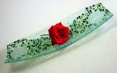 Prato decorativo em vidro Peça Única Para decoração e presentes Vidro Incolor , tons de verde R$110,00