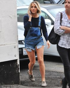 Pretty pins: Julianne Hough wore cute cut-off denim dungarees for a shopping trip in Los Angeles on Thursday