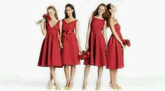 Group of cute short red brides maids dresses