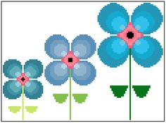 Retro cross stitch flowers. Mid century modern embroidery pattern. (3.00 GBP) by crossstitchtheline