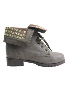 Laced up grey in colour complete with metallic gold studs around the cuff; an artificial leather make with heel approximately 3cm in height, lenth of shoe approx. 11cm