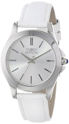 """#Invicta  #Watch , Women's 15147 """"Angel"""" Stainless Steel and White Leather Watch"""