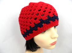 Hat - Red / Navy Beanie Red Things, Crochet Hats, Beanie, Navy, Fashion, Knitting Hats, Hale Navy, Moda, Fashion Styles
