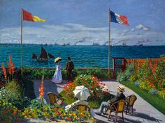 Monet 1876, Garden at Sainte-Adresse, Fade Resistant HD Print or Canvas in Art, Prints | eBay