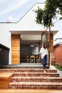 Lansdowne Project by Preston Lane Architects plays with volume, geometry & materials to transform a semi-detached house into a private focused world. Semi Detached, Detached House, Pale Blue Walls, Brick Steps, Recycled Brick, Roof Light, Brickwork, Built Environment, Gardens