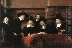 Sampling Officials of the Drapers' Guild 1662 by Rembrandt Van Rijn