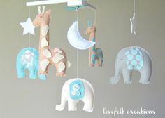 Baby crib mobile Custom Baby Mobile Elephant by LoveFeltXoXo