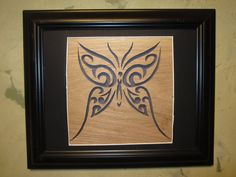 Wooden Butterfly Picture in Frame wall hanging art scroll saw cut out decor by nowcreations on Etsy