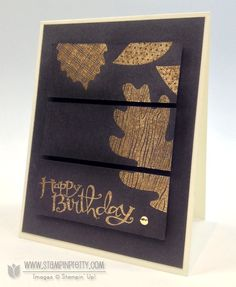 """wonderfall - stampin' up! w/ gold embossing  I prefer to emboss on a larger piece of card stock and then cut the three panels (1 3/16"""" X 3 3/16"""" each) when I can see the finished images.  It allows me the leverage to crop a bit more on one side (before cutting into thirds) to get better balance."""