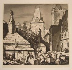 Pavel Šimon: Work at the Carl Bridge. Prague. Etching.