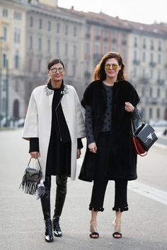 90+ Outfits That Are All About The Shape #refinery29  http://www.refinery29.com/2015/03/83106/milan-street-style-mfw-2015#slide-87  Cropped flares are staples for spring — make yours stand out even more with unusual trim.