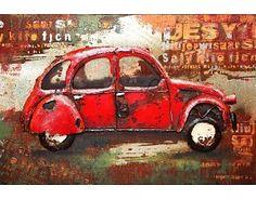 Schilderij 3D metaal Rode Eend Citroën