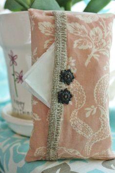 Burlap & flower tissue holder