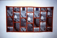 """""""Will in Greenhouse""""  kesa uttarasô, awase 2000/2001 110 x 170 cm Made of fabric with a woven photo. The fabric I got from Tilburg Textile Museum in the Netherlands. The used a new computer drawn loom and this was just a test for the weaves.  As they where not perfect, the fabric was put into the trash.  In the Museum I built up an exhibition with Kimono of the Ôkubo collection.  For the preparation I got help from a man called Will. He reminded me very much of grandfather."""