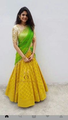 New Indian Bridal Lengha Color Combos Colour Ideas Lehenga Saree Design, Half Saree Lehenga, Lehnga Dress, Lehenga Gown, Lehenga Designs, Saree Blouse Designs, Floral Lehenga, Yellow Lehenga, Anarkali