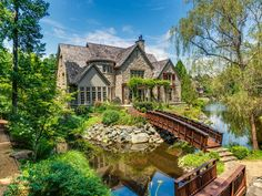 Country Exterior of Home with Pond, Wood bridge, Alliance Stone Atlanta Flagstone Step Treads, Pathway, exterior stone floors