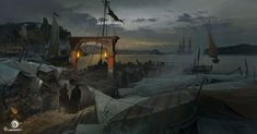 View an image titled 'Dock Art' in our Assassin's Creed IV: Black Flag art gallery featuring official character designs, concept art, and promo pictures. Concept Art World, Environment Concept Art, Environment Design, Assassins Creed Black Flag, Flag Art, Matte Painting, Fantasy Landscape, Fantasy Art, Environmental Art