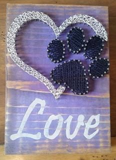 Love with paw print string art by CreateASilverLining on Etsy