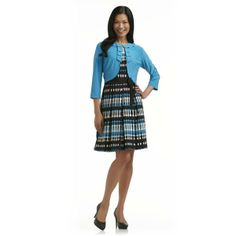 Danny & Nicole Women's Belted Dress & Jacket - Geometric Dots - Clothing - Women's - Dresses