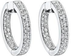 Diamond Earrings, .90 Carat Round Diamonds on 18K White Gold