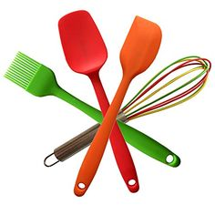 Perfect Kitchen Utensils for Kids Divine Delights Silicone Cooking Utensils Gift Set Hygienic Durable Nonstick Heat Resistan 4piece Red Spoon Orange Spatula Green Brush Colorful Whisk -- See this great product.