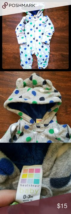 Baby polkadot snowsuit bodysuit warm 0-3 Washed but never worn. Fleece outside and minky inside. Perfect for spring weather. Size 0-3. Questions, offers and bundles are always welcome! One Pieces Footies