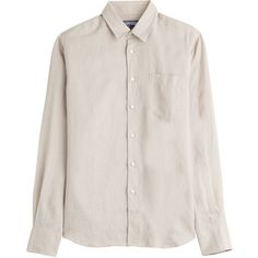 Vilebrequin Linen Shirt (3.470 UYU) ❤ liked on Polyvore featuring tops, shirts, clothing - ls tops, grey, slimming tops, slim shirt, gray shirt, vilebrequin and tailored slim fit shirts