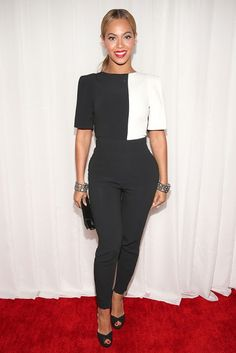 Grammy Awards 2013: Beyonce in a monochrome jumpsuit by LFW designer Osman