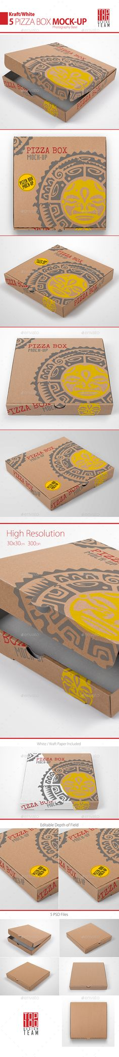 Pizza Box Mock-up by Top100team Create a realistic display for your Pizza Box design in few seconds. Items Included:5 Photo-realistic presentationsPhotoshop CS4