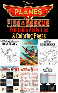 Disney Planes Fire & Rescue Printable Activities & Coloring Pages - Mom Endeavors Disney Planes Birthday, Disney Planes Party, Disney Activities, Craft Activities For Kids, Airplane Party, Family Movie Night, Disney Crafts, Coloring Pages For Kids, 3rd Birthday