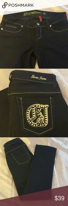 Guess black Jeans straight Leg size 27. Great black Jeans straight Leg. with a embroidered and hardware design jeans gold. Would be great for night out. New with no tags. Guess  Jeans Straight Leg