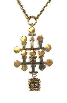 "Pentti Sarpaneva Finland - Vintage Bronze Necklace ""Leaf"" Collection - Signed  #PenttiSarpaneva #Pendant"