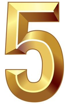 Gold Number Five PNG Clipart Image