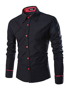 Camisa De los hombres Un Color Casual-Mezcla de Algodón-Manga Larga-Negro / Blanco
