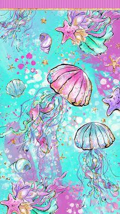Mermaid Digital Papers, Colorful Sea Seamless Patterns, Rainbow Underwater Summer Fabric, Cute Baby Dolphin, Jellyfish, Starfish, Flowers