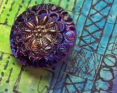 Czech Glass Button Crown Small Ultramarine Blue