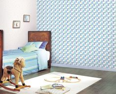 Blue White Boys Room: Cute & Quirky Wallpaper for Kids