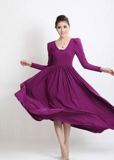 Aliexpress.com : Buy Fashion Bohemian Styl Purple Women Maxi Long Dress with U neck And Puff Sleeve,Women's U neck Long Sleeve Dress SS489 from Reliable Women Maxi Long Dres suppliers on Best Park $32.80