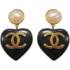 Authentic Chanel 1993 Vintage Famous Wood Heart Cc Gripoix Pearl Earrings Jewelry
