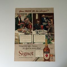 1940s Real Silk Hosiery Ad Vintage Wall Art on Reverse Side is Hiram Walker Signet Whiskey Ad  Fashion Advertising Whiskey Advertising by littlewoodenhouse on Etsy