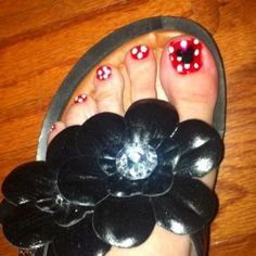Disney toes! Went a little crazy when I finally found my OPI Vintage Minnie Minis Collection! Red is 'The Color of Minnie'. The rest I actually hand-painted with acrylic paint, & then sealed it with OPI RapiDry Top Coat.