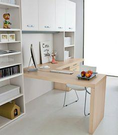 Kids Bedroom, Modern Kids Desk Design Ideas : Modern White Home Office Design Mesa Home Office, Office Table, Home Office Desks, Office Workspace, Bureau Design, Workspace Design, Space Saving Furniture, Office Furniture, Furniture Design
