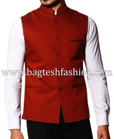 Mens Red Linen Nehru Jacket