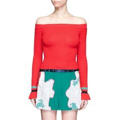 3.1 Phillip Lim Stripe hem smocked off-shoulder sweater ($325) ❤ liked on Polyvore featuring tops, sweaters, red, red off shoulder sweater, red top, stripe sweaters, smock top and red sweater