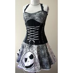 Nightmare Before Christmas spiderweb corset dress : handmade diy punk clothes, rockabilly dresses, kawaii, pin-up clothes, scene clothing stores, punk clothing stores, SmarmyClothes.com found on Polyvore