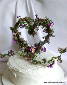 Rustic Cake Topper, Purple Flower Vine Topper, Wedding Decor